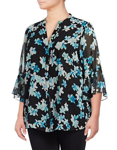 Calvin Klein Plus Floral Printed Flutter Sleeve Top-GREEN-1X