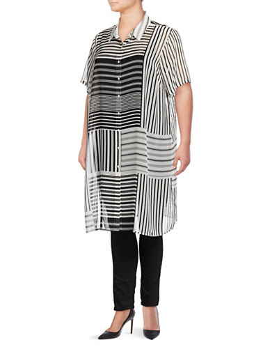 Calvin Klein Plus Plus Roll-Sleeve Long Tunic-WHITE/BLACK-1X