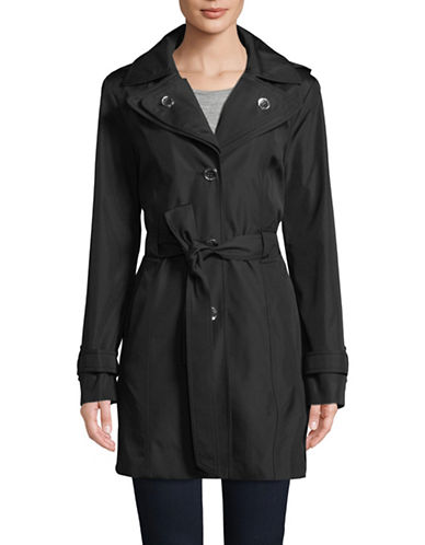 Calvin Klein Single Breasted Hooded Trench Coat-BLACK-Small 89839882_BLACK_Small