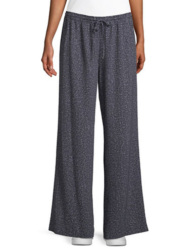 Calvin Klein Tweed Wide Leg Pants-BLACK-X-Small