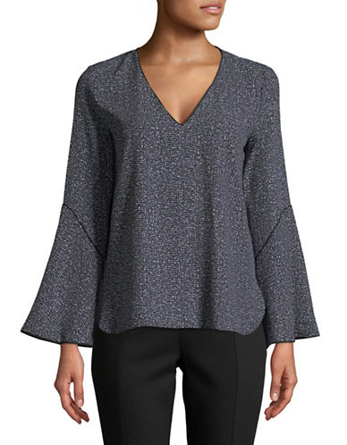 Calvin Klein Textured Bell-Sleeve Top-BLACK-Small