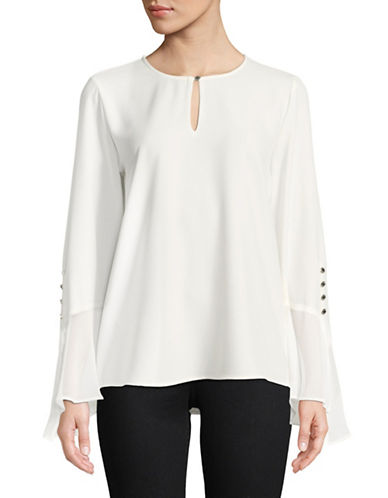 Calvin Klein Asymmetric Flare Sleeve Top-WHITE-Large
