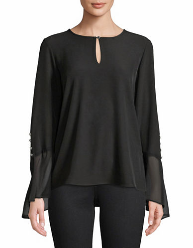 Calvin Klein Asymmetric Flare Sleeve Top-BLACK-X-Large