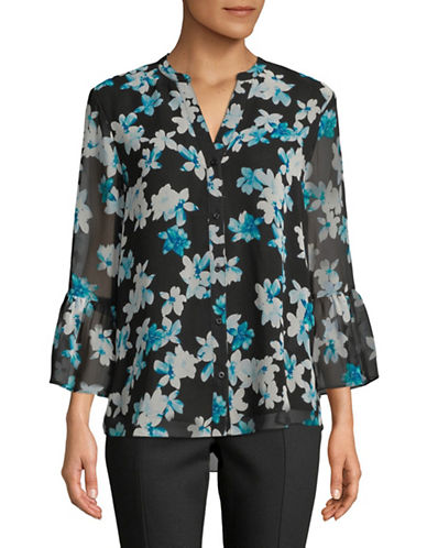 Calvin Klein Floral Bell Sleeve Chiffon Blouse-BLACK-Medium