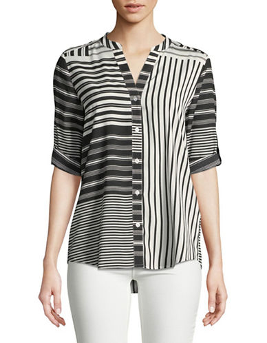 Calvin Klein Printed Roll Sleeve Top-BLACK/WHITE-X-Small