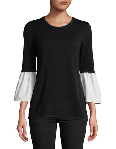 Calvin Klein Cotton-Blend Flare Sleeve Top-BLACK-Large