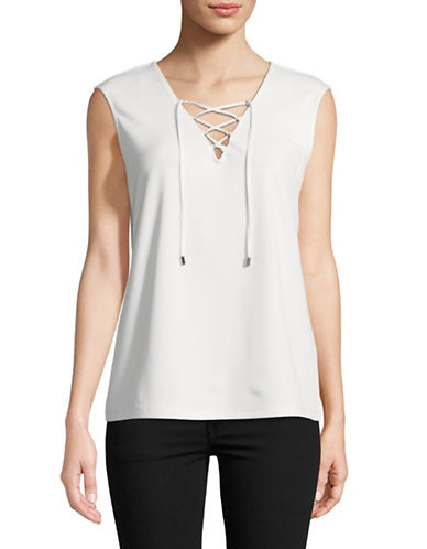 Calvin Klein Lace-Up Top-WHITE-Medium