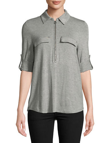 Calvin Klein Half Zip Roll Sleeve Top-GREY-Medium