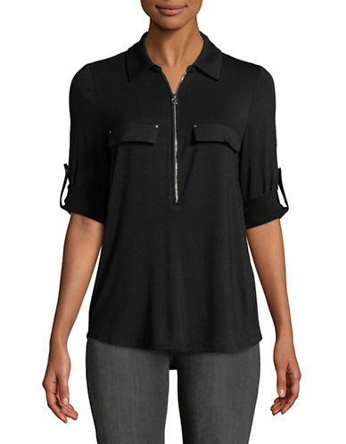 Calvin Klein Half Zip Roll Sleeve Top-BLACK-Small