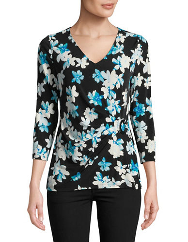 Calvin Klein Floral Wrap Front Top-BLACK-X-Small