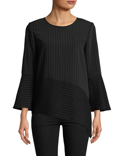 Calvin Klein Long Sleeve Vented Hem Top-BLACK-Medium