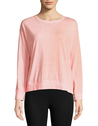 Calvin Klein Performance Cotton-Blend Lace Back Sweater-PINK-Large