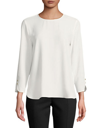 Calvin Klein Long Sleeve Buttoned Blouse-NATURAL-Small