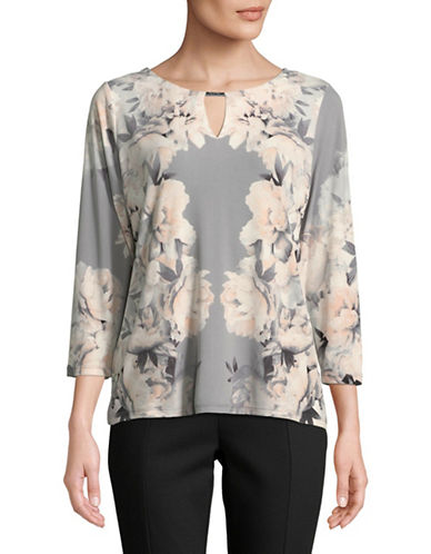 Calvin Klein Floral Three-Quarter Sleeve Top-GREY-Large