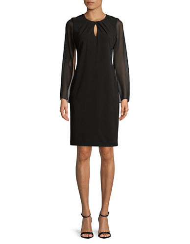 Calvin Klein Chiffon-Sleeve Crepe Dress-BLACK-8