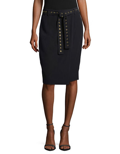Calvin Klein Studded Belt Pencil Skirt-BLACK-4
