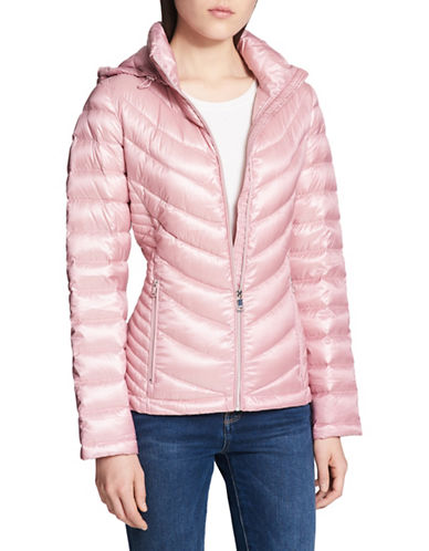Calvin Klein Packable Hooded Jacket-PINK-X-Small