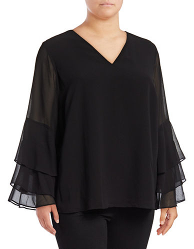 Calvin Klein Plus Tiered Ruffle-Sleeve Blouse-BLACK-1X