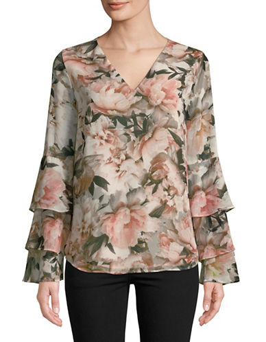 Calvin Klein Floral-Print Ruffled Long-Sleeve Blouse-MUTLI-Small