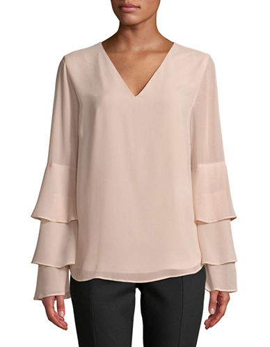 Calvin Klein Tiered Ruffle-Sleeve Blouse-BLUSH-X-Small