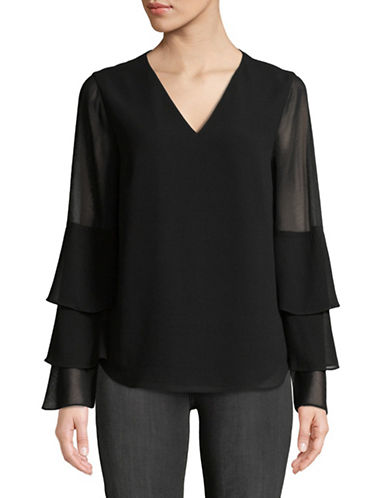 Calvin Klein Tiered Ruffle-Sleeve Blouse-BLACK-X-Small