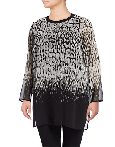 Calvin Klein Plus Long Printed Tunic-BLACK/LIGHT GREY-2X