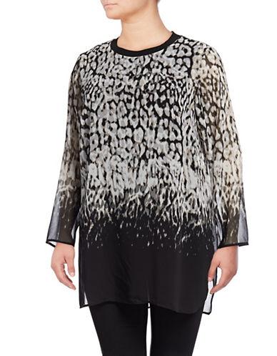 Calvin Klein Plus Long Printed Tunic-BLACK/LIGHT GREY-0X