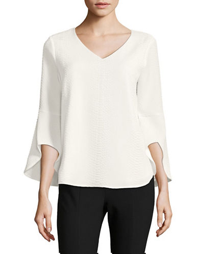 Calvin Klein Textured Flare-Sleeve Top-NATURAL-Small