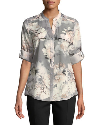 Calvin Klein Printed Roll-Sleeve Shirt-GREY MULTI-Large
