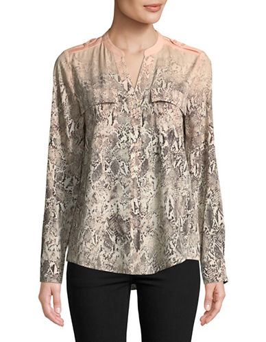 Calvin Klein Printed Roll-Sleeve Shirt-PINK-X-Small