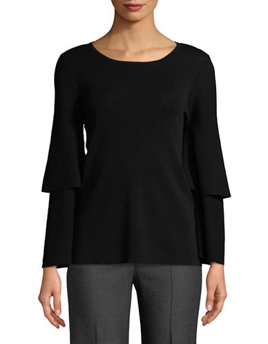 Calvin Klein Ruffled Two-Tier Sleeve Top-BLACK-X-Small