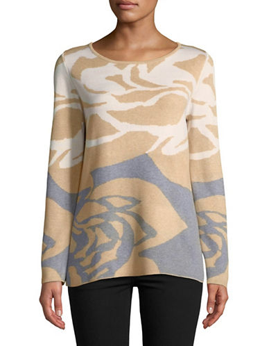 Calvin Klein Floral Jacquard Long-Sleeve Top-BEIGE-Large