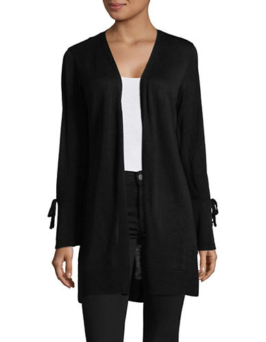 Calvin Klein Tie-Sleeve Open Front Cardigan-BLACK-Small