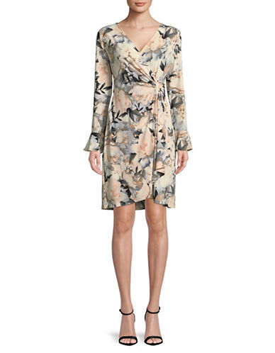 Calvin Klein Floral-Print Wrap Dress-BEIGE-X-Small