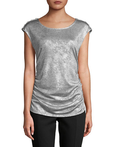 Calvin Klein Metallic Snake Sleeveless Top-SILVER-Large