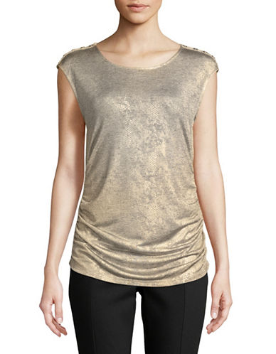 Calvin Klein Metallic Snake Sleeveless Top-GOLD-Large