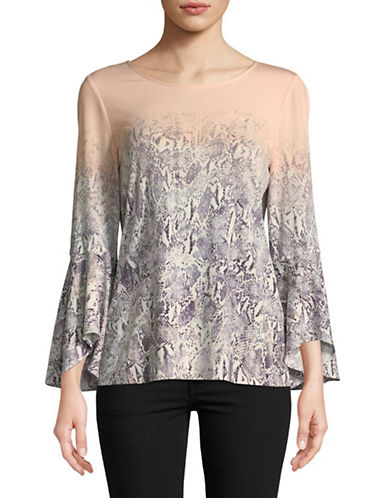 Calvin Klein Printed Flare-Sleeve Top-BLUSH-Large