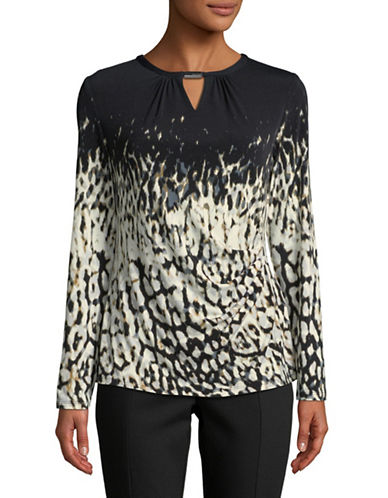 Calvin Klein Printed Long-Sleeve Top-BLACK-X-Small
