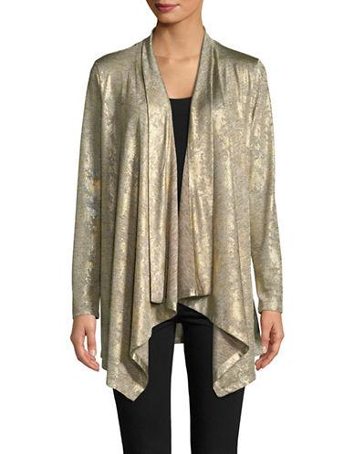 Calvin Klein Metallic Snake Flyaway Cardigan-GOLD-Large