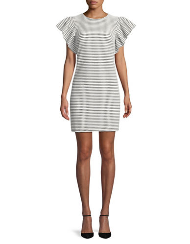 Calvin Klein Ruffle-Sleeves Dot Sheath Dress-WHITE/BLACK-8