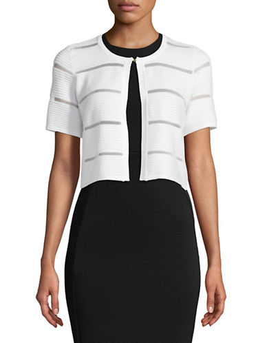 Calvin Klein Shadow Stripe Shrug-WHITE-Small