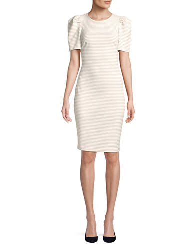 Calvin Klein Striped Puff Sleeve Sheath Dress-WHITE-6