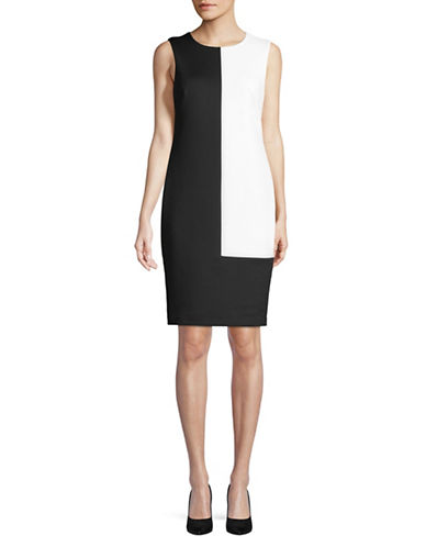 Calvin Klein Colourblock Sheath Dress-BLACK-2