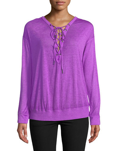 Calvin Klein Performance Lace-Up Tee-BRIGHT PURPLE-X-Large
