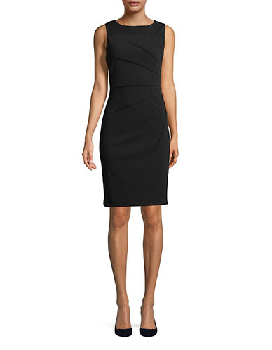 Calvin Klein Sleeveless Starburst Crepe Sheath Dress-BLACK-6