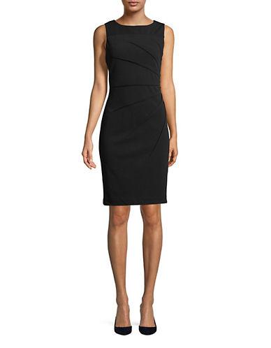 Calvin Klein Sleeveless Starburst Crepe Sheath Dress-BLACK-10