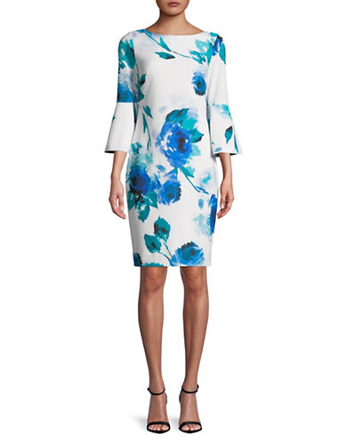 Calvin Klein Floral Printed Bell Sleeve Dress-BLUE-4