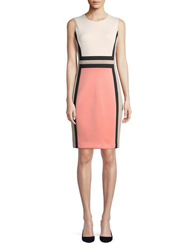 Calvin Klein Colourblock Sheath Dress-PINK-8