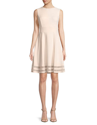 Calvin Klein Sleeveless Illusion Hem Fit-and-Flare Dress-PINK-4