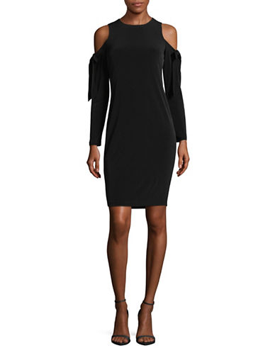 Calvin Klein Bow Cold-Shoulder Dress-BLACK-14